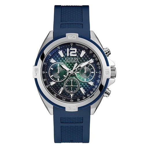 Guess Men's U1168G1 Casual Chronograph Blue Silicone Watch