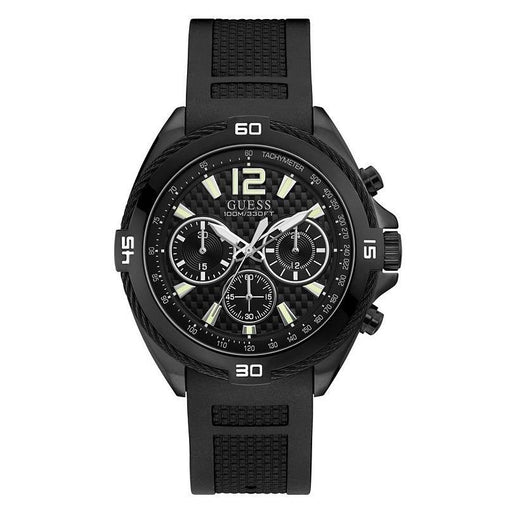 Guess Men's U1168G2 Casual Chronograph Black Silicone Watch