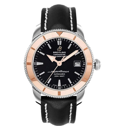 Breitling Men's U1732112-BA61-436X Superocean Heritage 42 18 Kt Rose Gold Automatic Black Crocodile Leather Watch