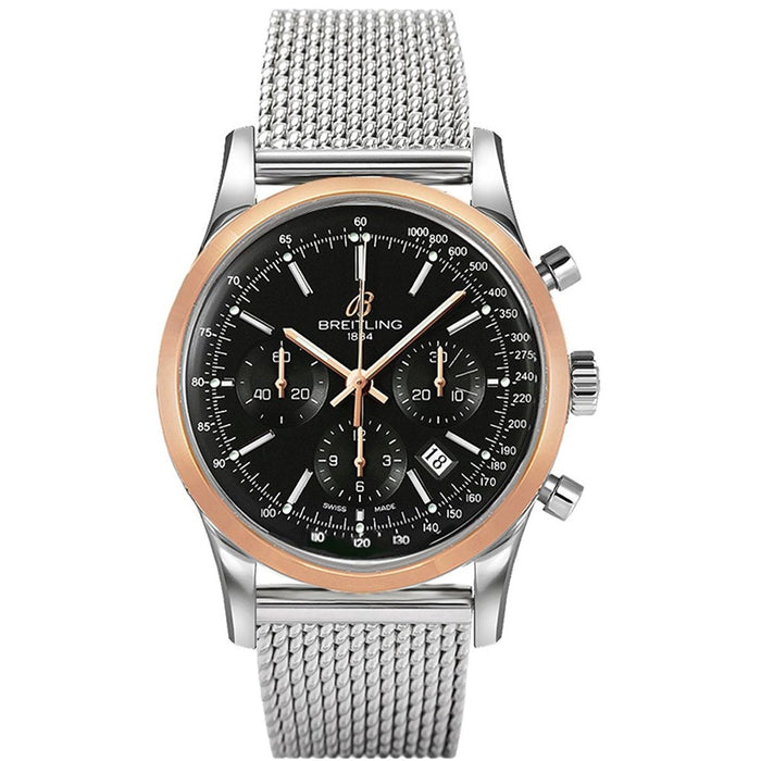 Breitling Men's UB015212-BC74 Transocean Chronograph Automatic 18kt Rose Gold Stainless Steel Watch