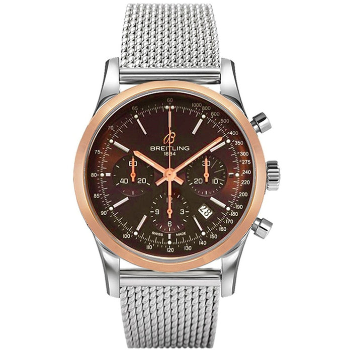 Breitling Men's UB015212-Q594 Transocean Chronograph Automatic 18kt Rose Gold Stainless Steel Watch