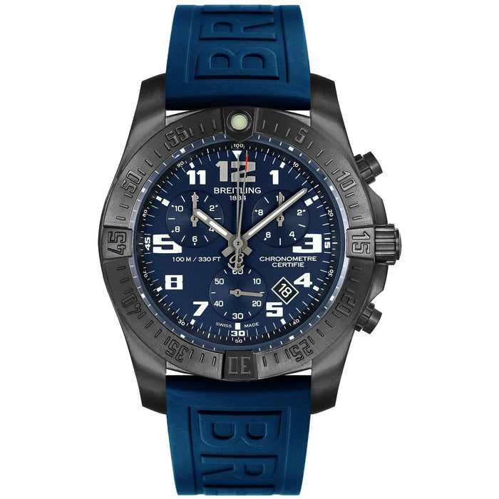 Breitling Men's V7333010-C939-158S Chronospace Evo Night Mission Chronograph Blue Rubber Watch