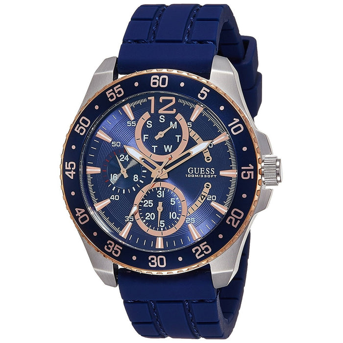 Guess Men's W0798G2 Jet Multi-Function Blue Silicone Watch