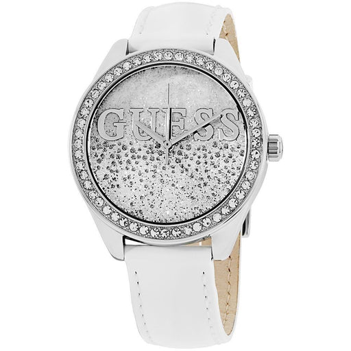 Guess Women's W0823L1 Glitter Girl Crystal White Leather Watch