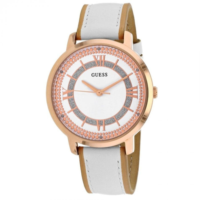 Guess Women's W0934L1 Montauk Crystal White Leather Watch