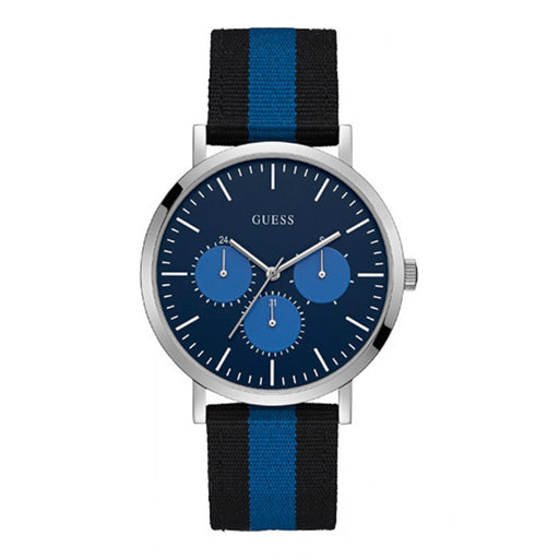 Guess Men's W1045G1 Slate Multi-Function Black and Blue Nylon Watch