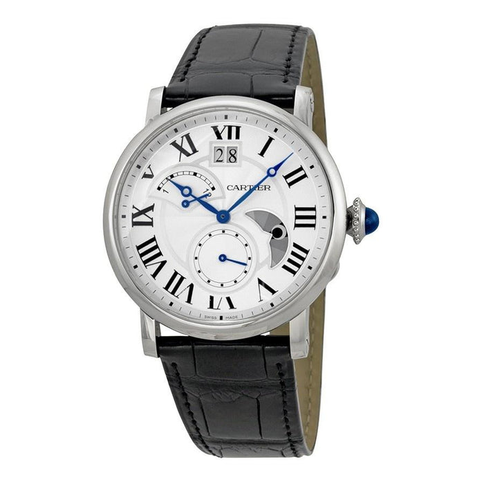 Cartier Men's W1556368 Rotonde Retrograde Automatic Black Leather Watch