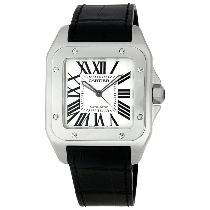 Cartier Men's W20073X8 Santos 100 XL Automatic Black Leather Watch