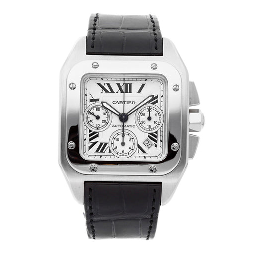 Cartier Men's W20090X8 Santos Chronograph Automatic Black Leather Watch