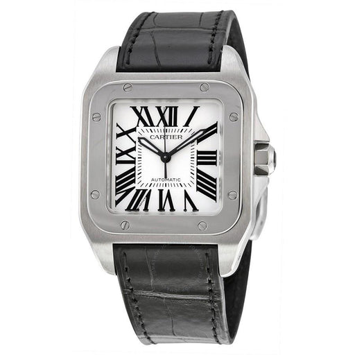 Cartier Unisex W20106X8 Santos 100 Automatic Black Leather Watch
