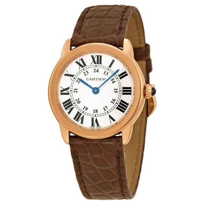 Cartier Women's W6701007 Ronde Solo 18kt Rose Gold Brown Leather Watch
