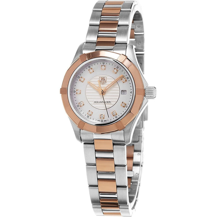 Tag Heuer Women's WAP1451.BD0837 Aquaracer 18kt Rose Gold Diamond Two-Tone Stainless Steel and Gold Watch