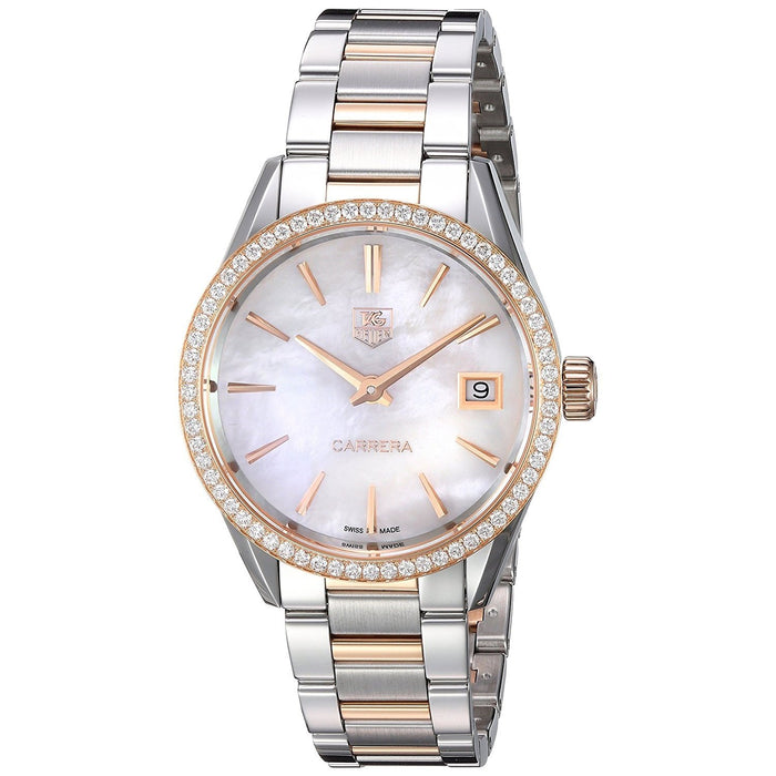 Tag Heuer Women's WAR1353.BD0779 Carrera 18kt Rose Gold Diamond Two-Tone Stainless Steel Watch