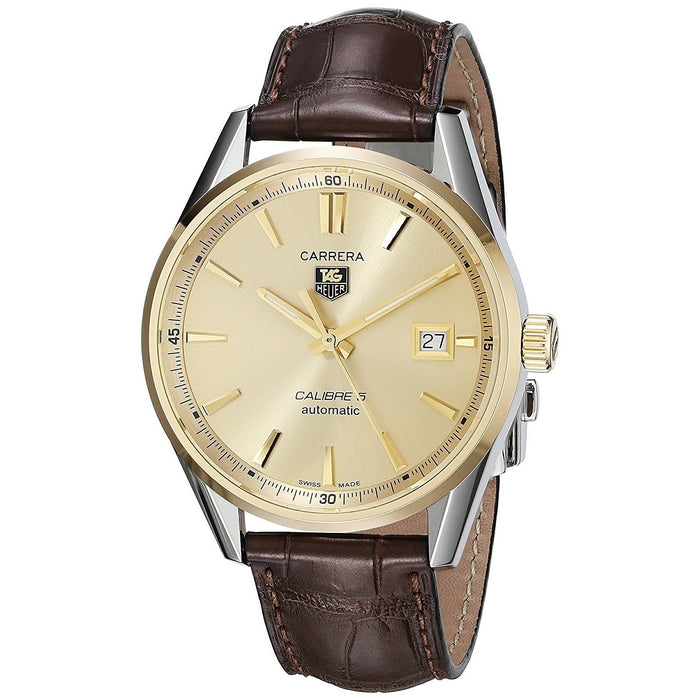 Tag Heuer Men's WAR215A.FC6181 Carrera 18kt yellow gold Automatic Brown Alligator Leather Watch