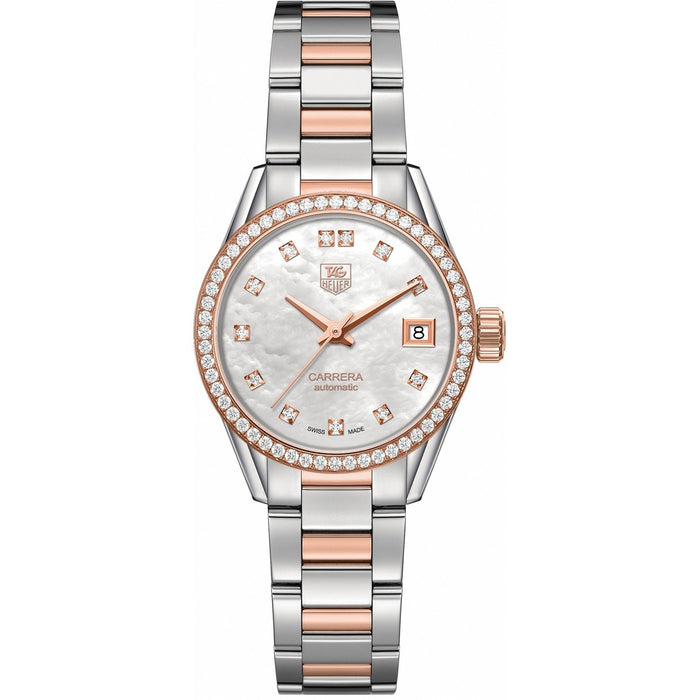 Tag Heuer Women's WAR2453.BD0777 Carrera 18kt Rose Gold Diamond Automatic Two-Tone Stainless Steel and Gold Watch