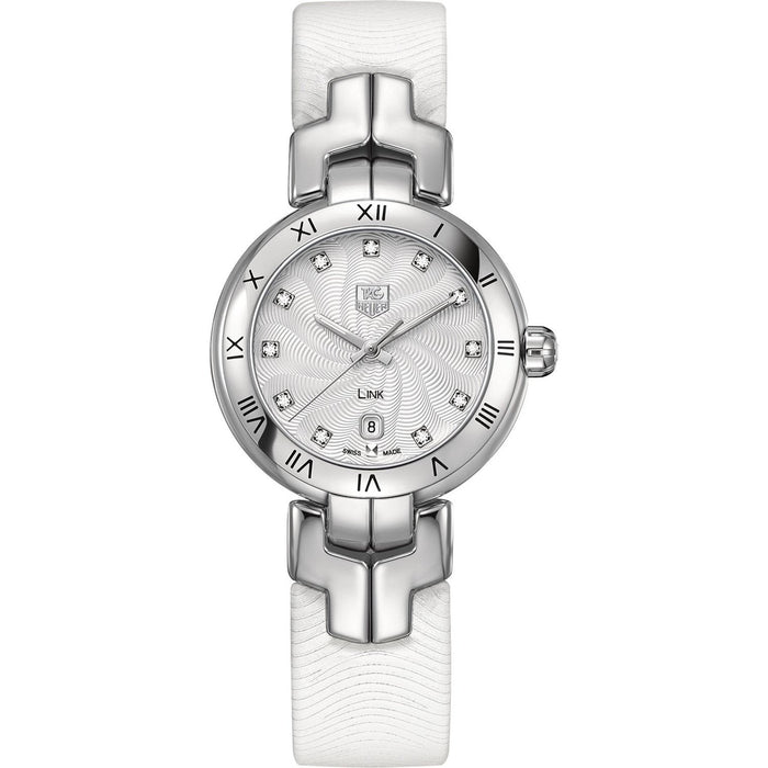 Tag Heuer Women's WAT1411.FC6316 Link Diamond White Leather Watch