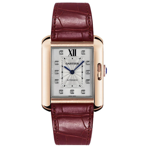Cartier Women's WJTA0006 Tank Anglaise 18Kt Rose Gold Diamond Bordeaux Leather Watch