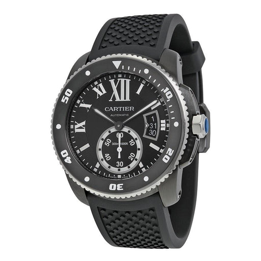 Cartier Men's WSCA0006 Calibre de Diver Automatic Black Rubber Watch