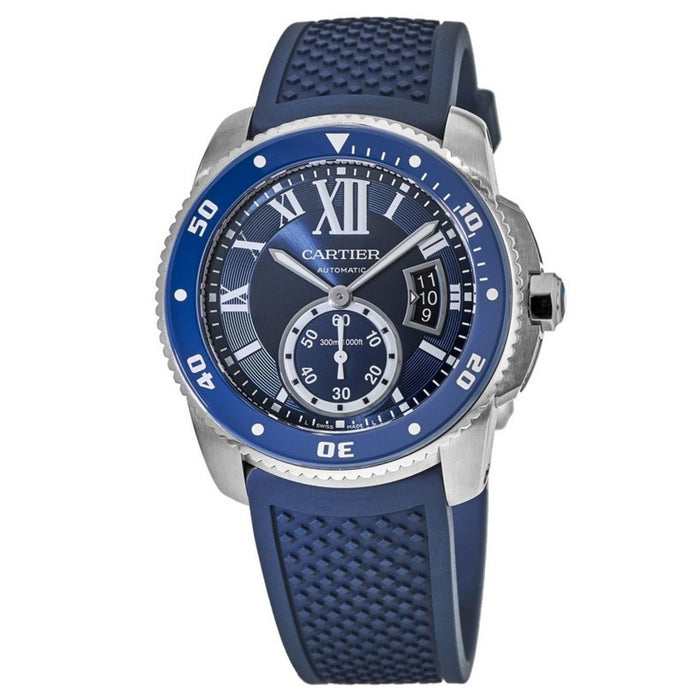 Cartier Men's WSCA0011 Calibre Diver Automatic Blue Rubber Watch