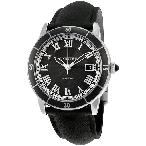 Cartier Men's WSRN0003 Ronde Croisiere Automatic Black Leather Watch