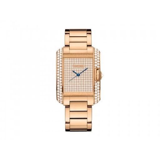 Cartier Unisex WT100012 Tank Diamond Rose Gold-Tone Stainless Steel with Sets of Diamonds Watch
