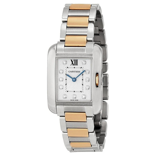 Cartier Women's WT100025 Tank Anglaise 18kt Pink Gold Diamond Two-Tone Stainless Steel Watch
