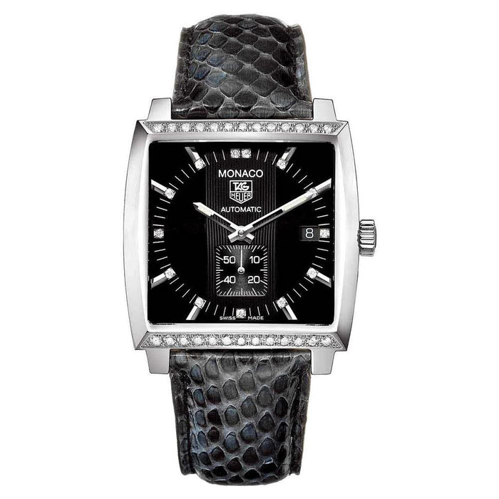 Tag Heuer Unisex WW2118.FC6216 Monaco Diamond Automatic Black Python leather Watch