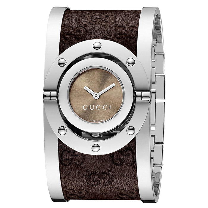 Gucci Women's YA112433 Twirl Brown Leather Watch