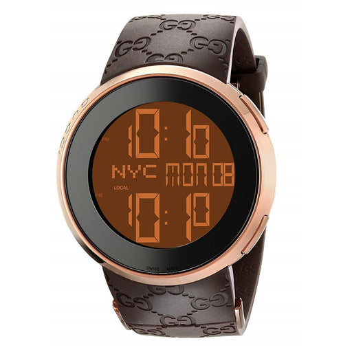 Gucci Men's YA114209 114 I-Gucci Digital Brown Rubber Watch