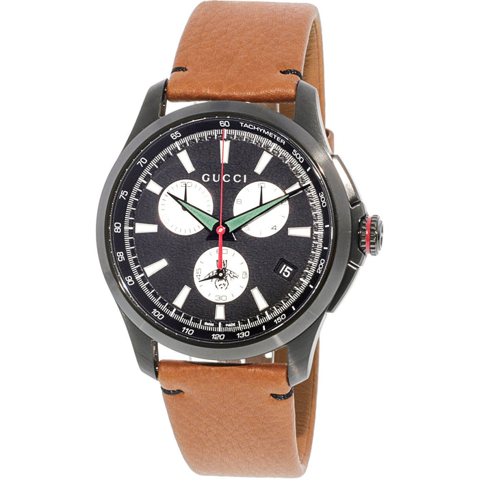 Gucci Men's YA126271 G-Timeless Extra Large Bee Chronograph Brown Leather Watch