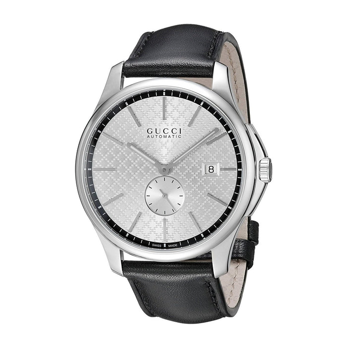 Gucci Men's YA126313 G-Timeless Automatic Black Leather Watch