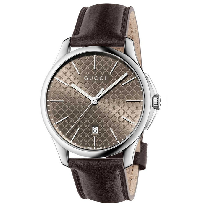 Gucci Unisex YA126318 G-Timeless Brown Leather Watch