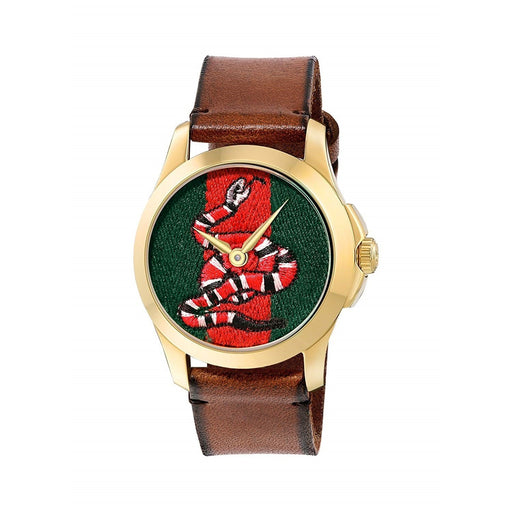 Gucci Women's YA1264012 Le Marche Des Merveilles Snake Motif Brown Leather Watch