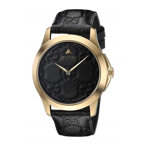 Gucci Women's YA1264034 G-Timeless Black Leather Watch