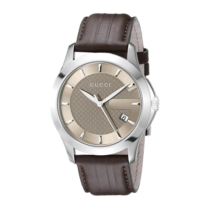 Gucci Men's YA126403 G-Timeless Brown Leather Watch