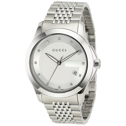 Gucci Men's YA126404 G-Timeless Diamond Stainless Steel Watch