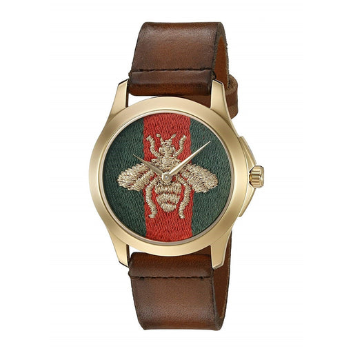Gucci Men's YA126451 Le Marche Des Merveilles Brown Leather Watch