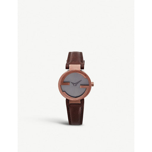 Gucci Women's YA133504 Interlocking Brown Leather Watch