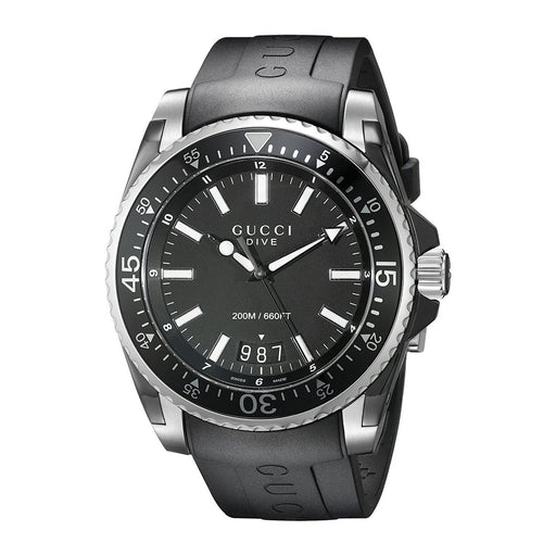 Gucci Men's YA136204 Dive Black Rubber Watch