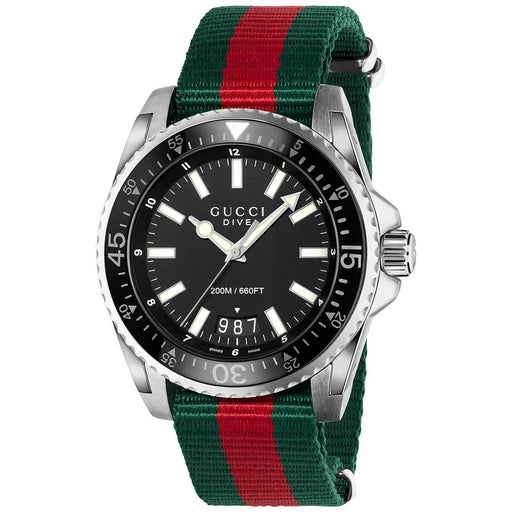 Gucci Men's YA136206 Dive Green and red Nylon Watch
