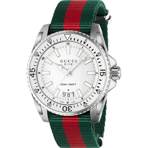 Gucci Men's YA136207 Dive Green and red Nylon Watch
