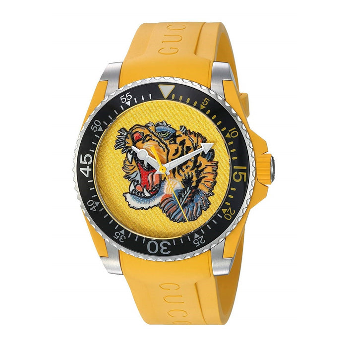 Gucci Unisex YA136317 Drive Embroidered Tiger Yellow Rubber Watch