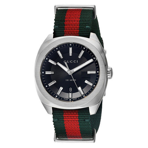 Gucci Men's YA142305 GG2570 Red and Green Nylon Watch