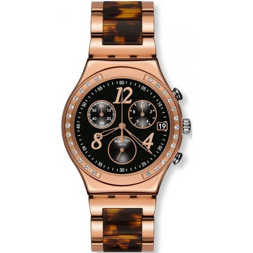 Swatch Women's YCG404GC Irony Dreamnight 14 Chronograph Crystal Tortoise Two-Tone Stainless Steel Watch