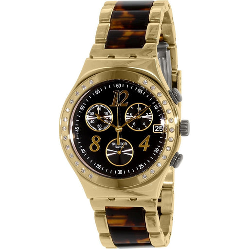 Swatch Women's YCG405GC Irony Dreamnight 14 Chronograph Crystal Tortoise Two-Tone Stainless Steel Watch