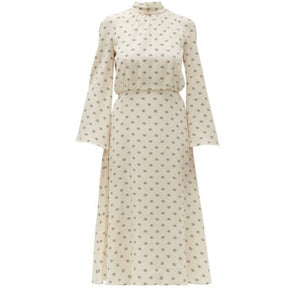 VALENTINO  Logo-print tie-neck silk dress