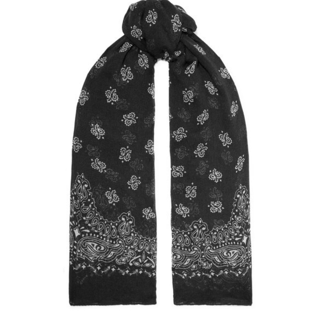 Saint Laurent - Printed Cashmere And Silk-blend Scarf - Black