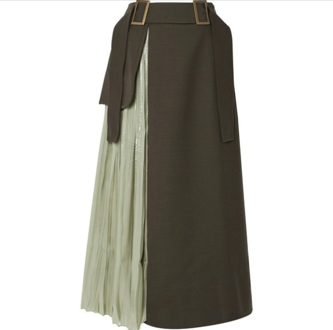 REJINA PYO Evie paneled wool-blend twill and pleated satin skirt
