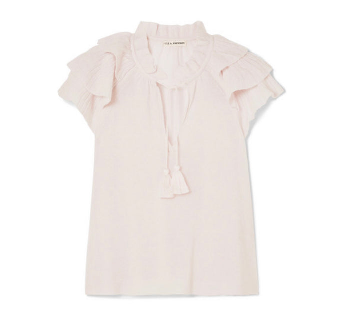 Ulla Johnson - Edith Ruffled Cashmere-blend Top - Baby pink