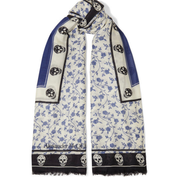 Alexander McQueen - Printed Modal And Wool-blend Scarf - Blue
